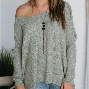 Olive green off the shoulder sweater